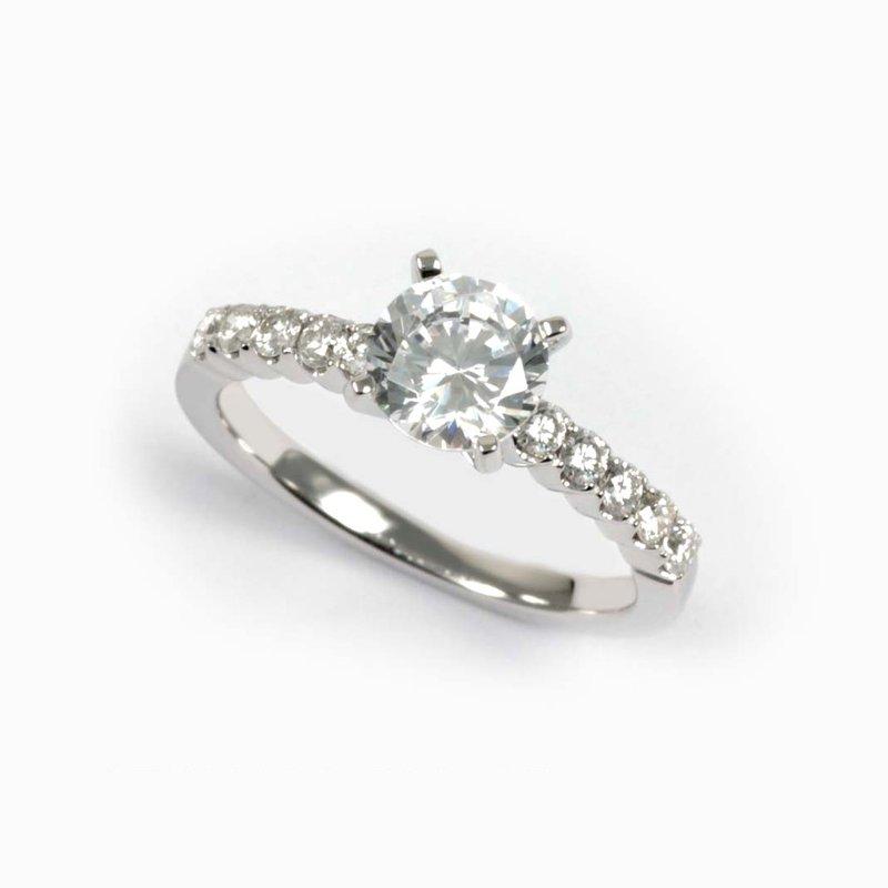 Diadori (Cheri Dori) Diamond Side Stone Accented Round Engagement Ring