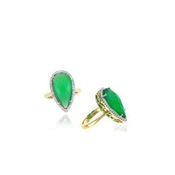 Green Agate & Diamond Halo Fashion Ring