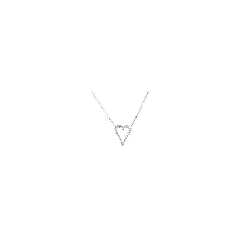 Shy Creation Diamond Open Heart Necklace