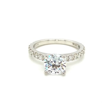 Diamond Round Side Stone Engagement Ring