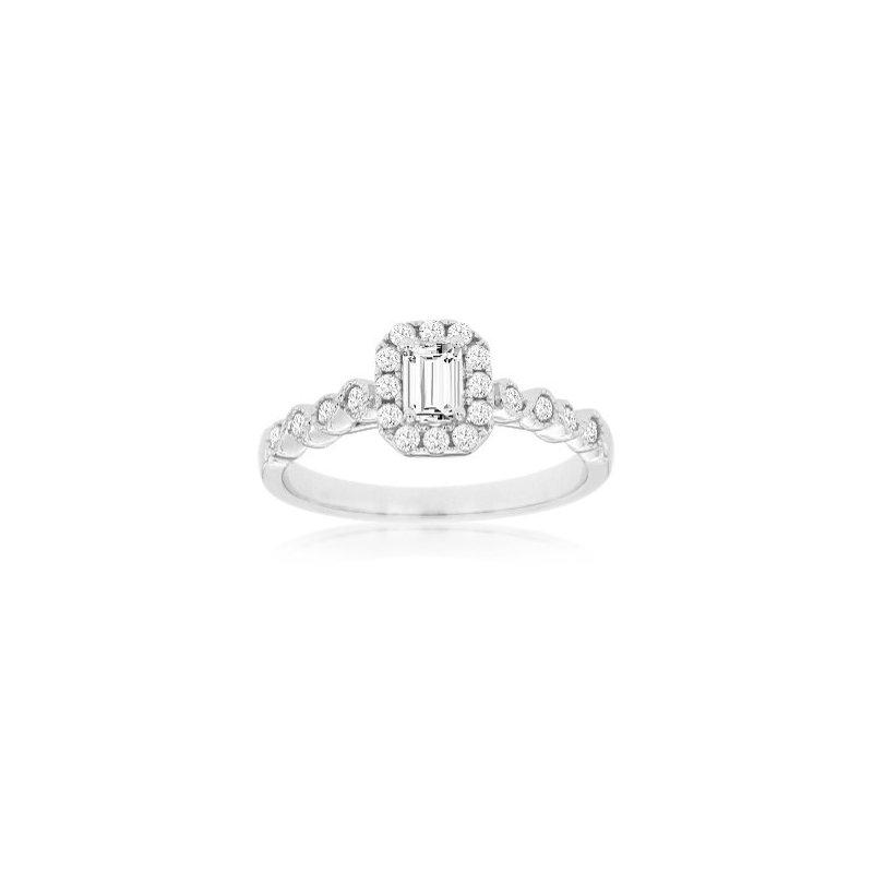 Murphy Pitard Signature Collection Emerald Cut Diamond Halo Engagement Ring