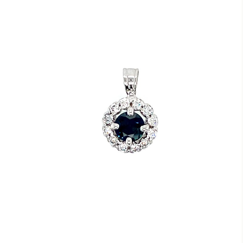 Murphy Pitard Signature Collection Diamond Halo Sapphire Pendant