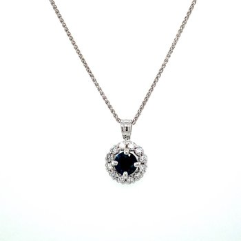 Diamond Halo Sapphire Pendant
