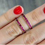Murphy Pitard Estate Collection Princess Cut Ruby Eternity Band
