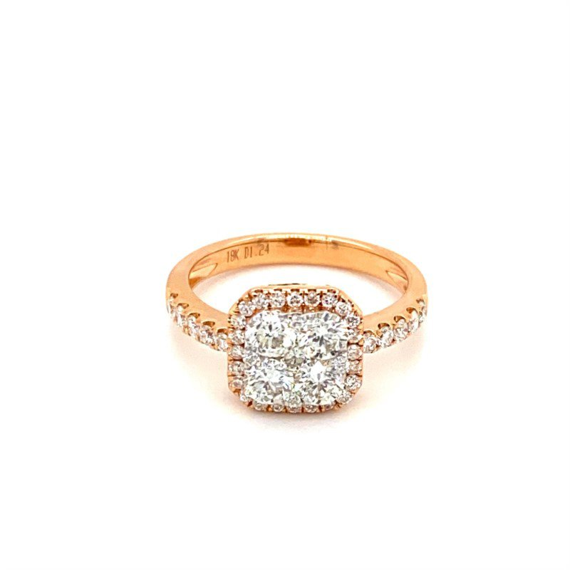 Murphy Pitard Signature Collection Diamond Cluster Center Cushion Engagement Ring