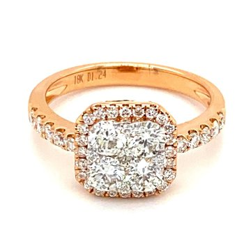 Diamond Cluster Center Cushion Engagement Ring