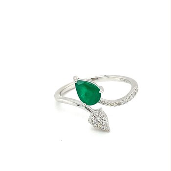 Emerald & Diamond Bypass Fashion Ring