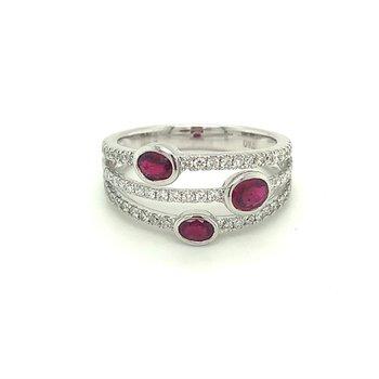 Oval Ruby & Diamond Triple Row Split Fashion Ring
