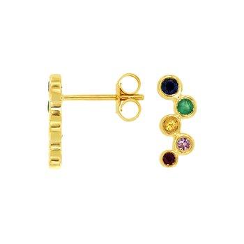 Multi-Color Sapphire Climber Earrings