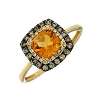 Citrine Diamond & Mocha Diamond Ring