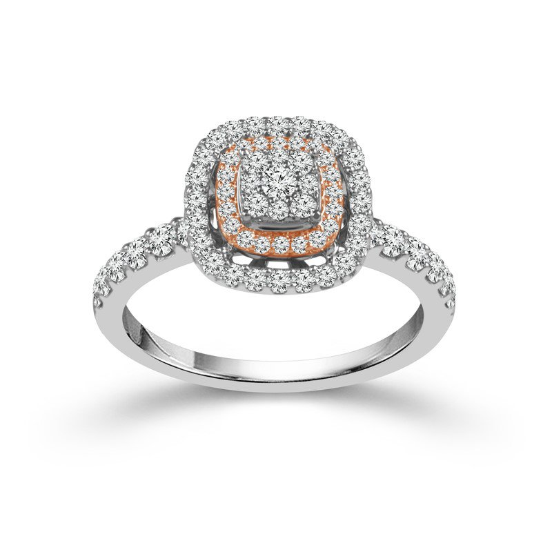 Murphy Pitard Signature Collection Double Halo Cushion Shaped Engagement Ring