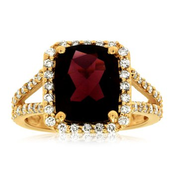 Garnet & Diamond Halo Fashion Ring