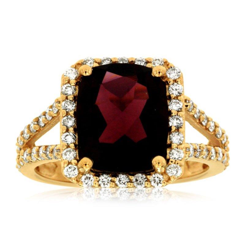 Murphy Pitard Signature Collection Garnet & Diamond Halo Fashion Ring