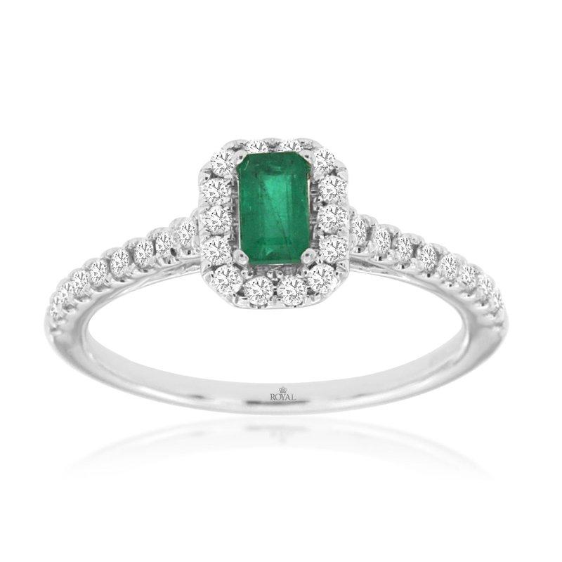 Murphy Pitard Signature Collection Emerald Diamond Halo Ring