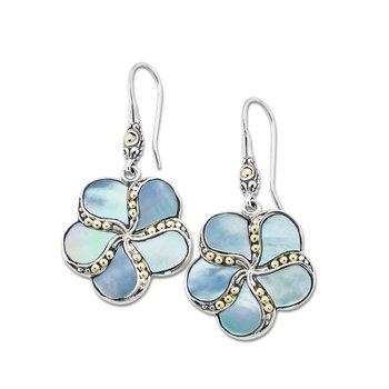 Dangle Mother Of Pearl Flower Earrings