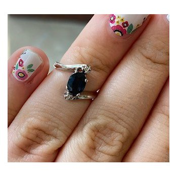 Diamond Accented Sapphire Ring