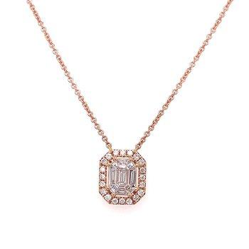 Diamond Halo & Baguette Necklace