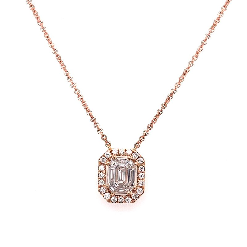 Murphy Pitard Signature Collection Diamond Halo & Baguette Necklace