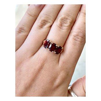 Three Stone Oval Garnet Ring