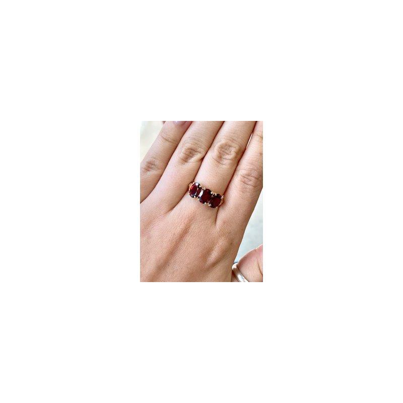 Murphy Pitard Estate Collection Three Stone Oval Garnet Ring
