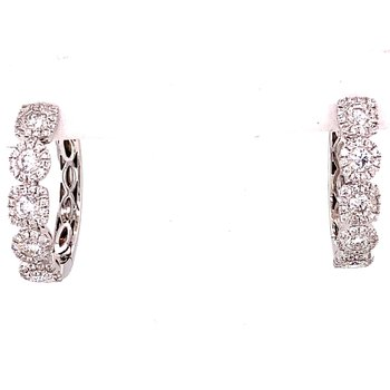 White Gold Diamond Halo Hoop Earrings