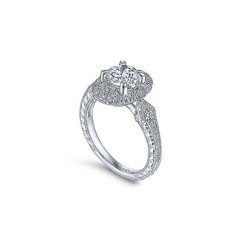 Gabriel & Co. New York Art Deco Inspired Halo Diamond Engagement Ring