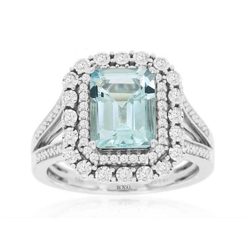 Murphy Pitard Signature Collection Emerald Cut Aquamarine Diamond Halo Fashion Ring
