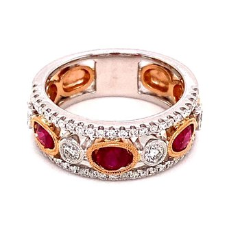 White and Rose Gold Ruby Band