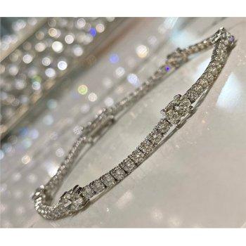 Round & Oval Diamond 4 4/5 Carats Tennis Bracelet