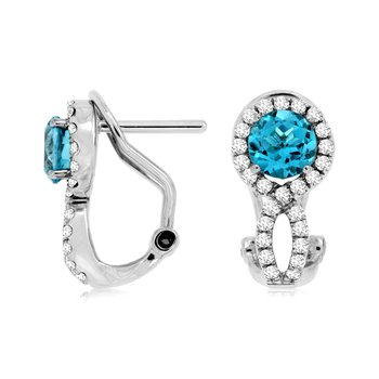Blue Topaz Diamond Halo Drop Earrings