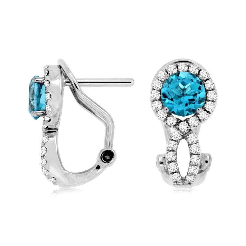 Murphy Pitard Signature Collection Blue Topaz Diamond Halo Drop Earrings