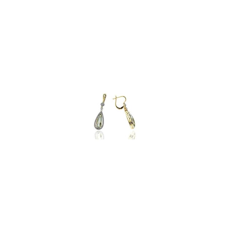 Murphy Pitard Signature Collection Dangle Green Amethyst and Diamond Earrings