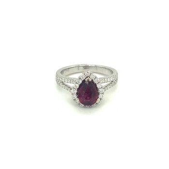 Pear Ruby & Diamond Halo Split Ring