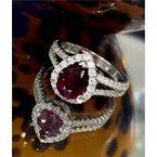 Murphy Pitard Signature Collection Pear Ruby & Diamond Halo Split Ring