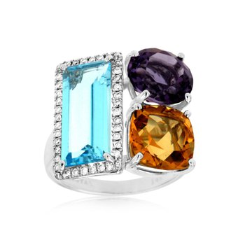 Geometric Gemstone & Diamond Ring