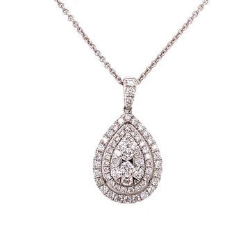 Pear Shaped Cluster Diamond Pendant