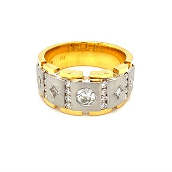 Diamond Bezel & Channel Set Two Tone Band