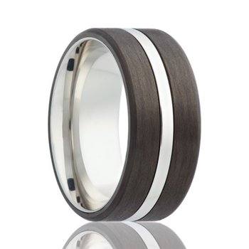 Cobalt Chrome Carbon Fiber Wedding Band, Size 8.5