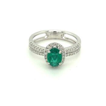 Oval Emerald & Diamond Halo Split Band Ring