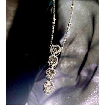 Diamond Halo Slice Drop Necklace