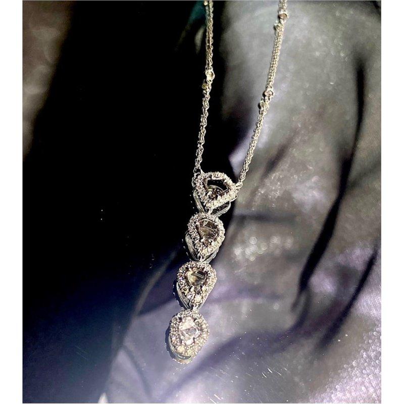 Murphy Pitard Signature Collection Diamond Halo Slice Drop Necklace