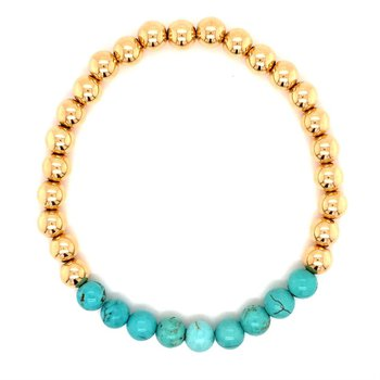 Blue Howlite and Gold-Filled Beaded Stretch Bracelet