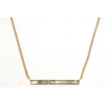 Baguette Diamond Bar Necklace