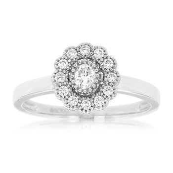 Floral Inspired Halo Engagement Ring