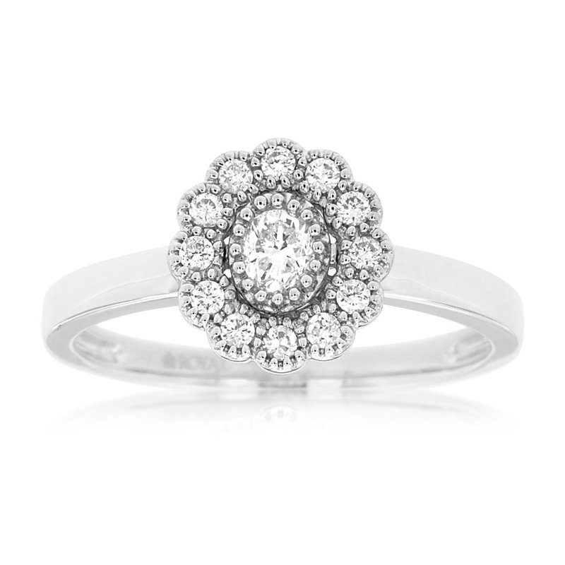 Murphy Pitard Signature Collection Floral Inspired Halo Engagement Ring