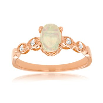 Diamond Accented Opal Ring