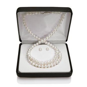 Freshwater Pearl Set Containing a Strand Necklace Stud Earrings and a Strand Baby Bracelet