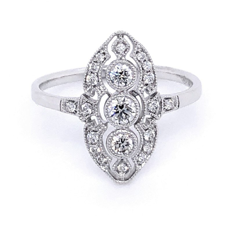 Murphy Pitard Signature Collection Dainty Vintage Inspired Diamond Ring