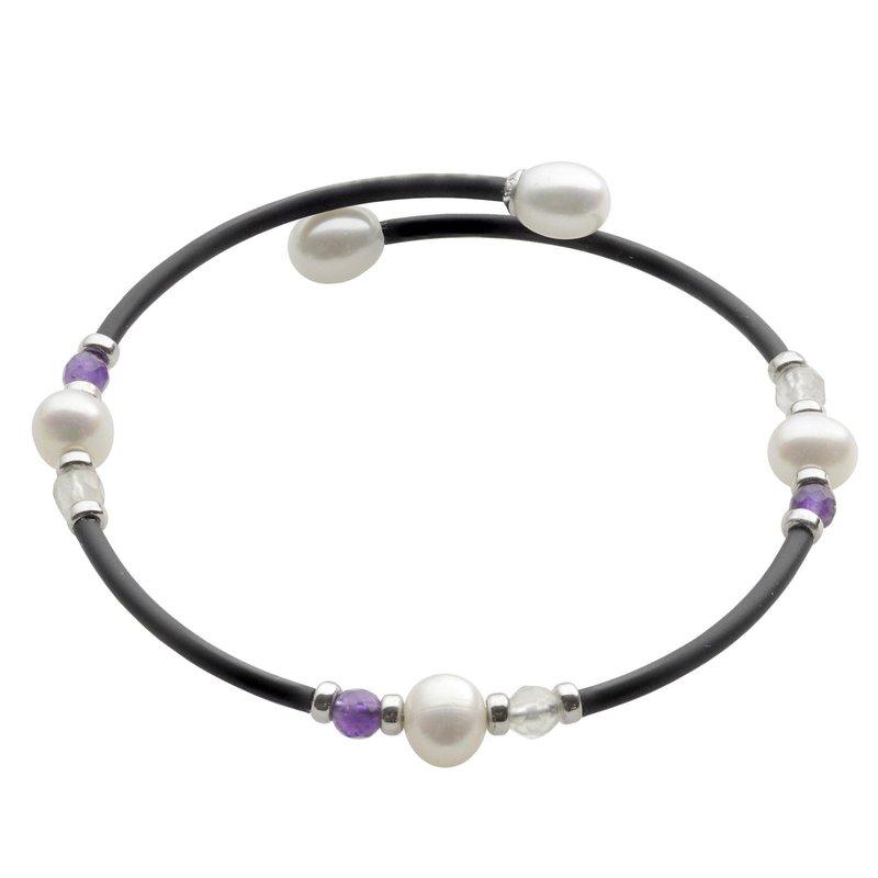 Murphy Pitard Signature Collection Freshwater Pearl & Gemstone Bangle Bracelet