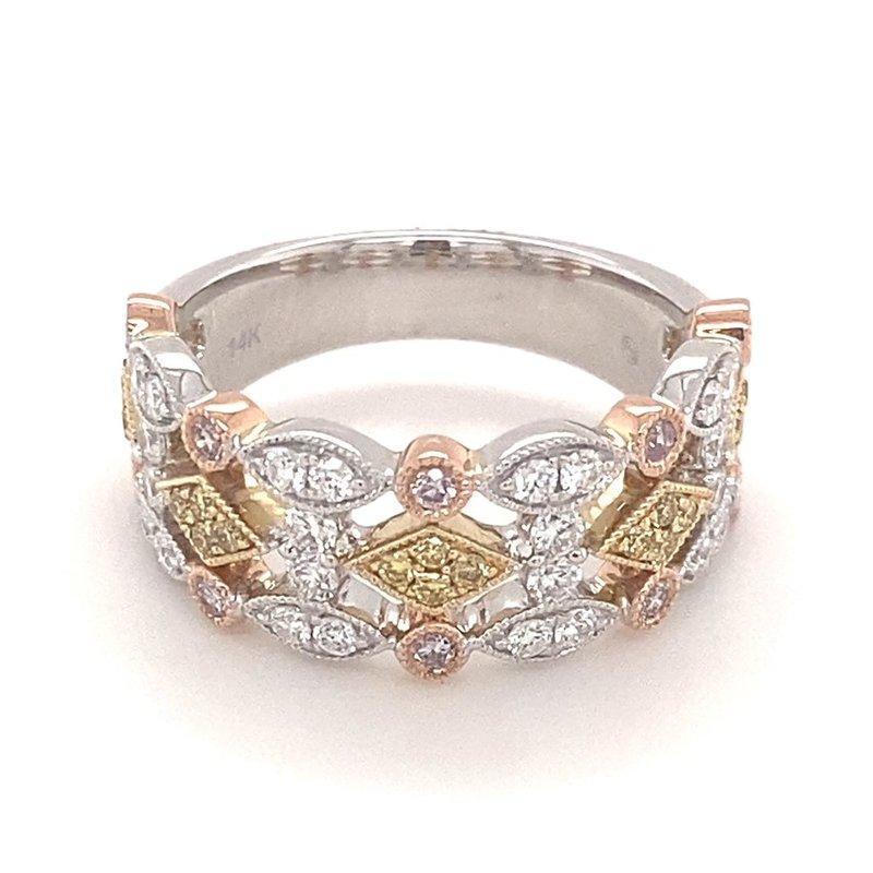 Murphy Pitard Signature Collection Diamond White, Pink & Yellow Milgrain Fashion Band